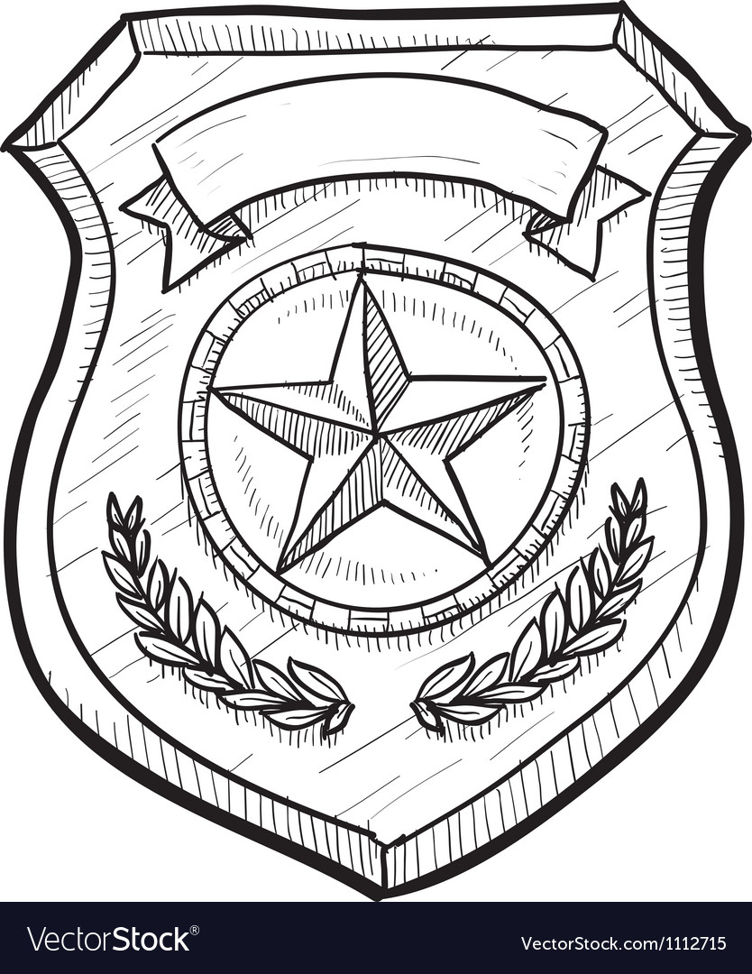 834x1080 Mainstream Police Badge Drawing Doodle Royalty Free Vector Image