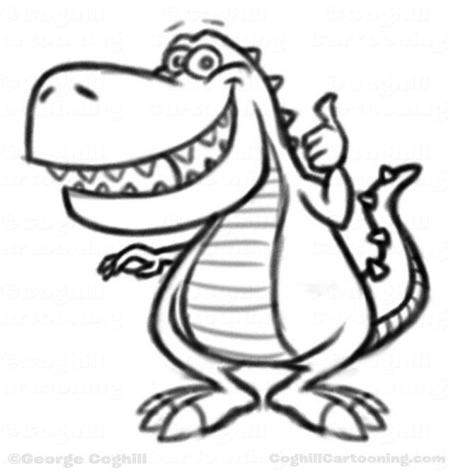 640x670 Dinosaur Cartoon Character Sketches