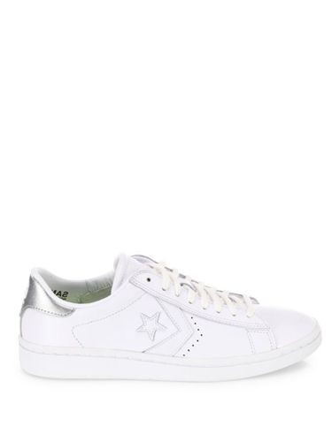 375x500 Converse Chuck Taylor Pro Leather Lp Ox Sneakers White Silver