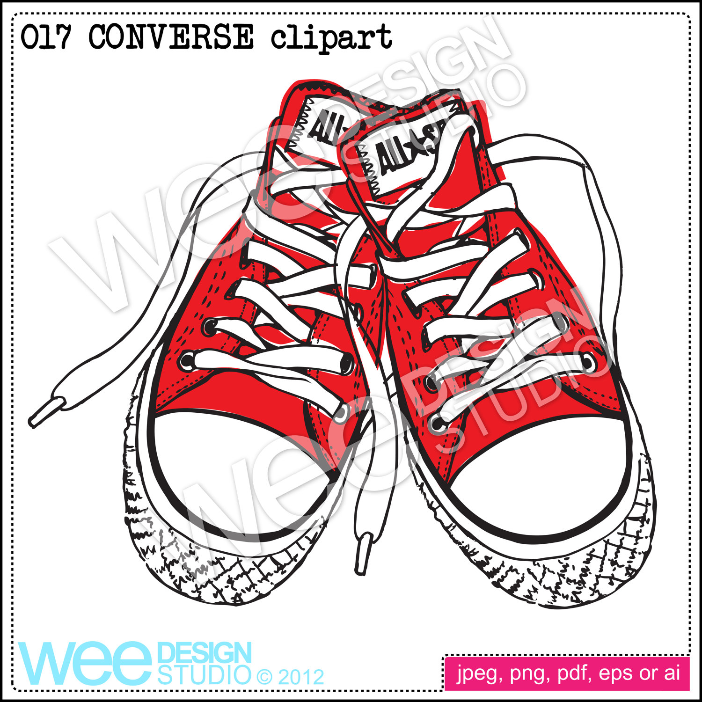 1500x1500 Converse Sneakers Digital Clipart Sketch
