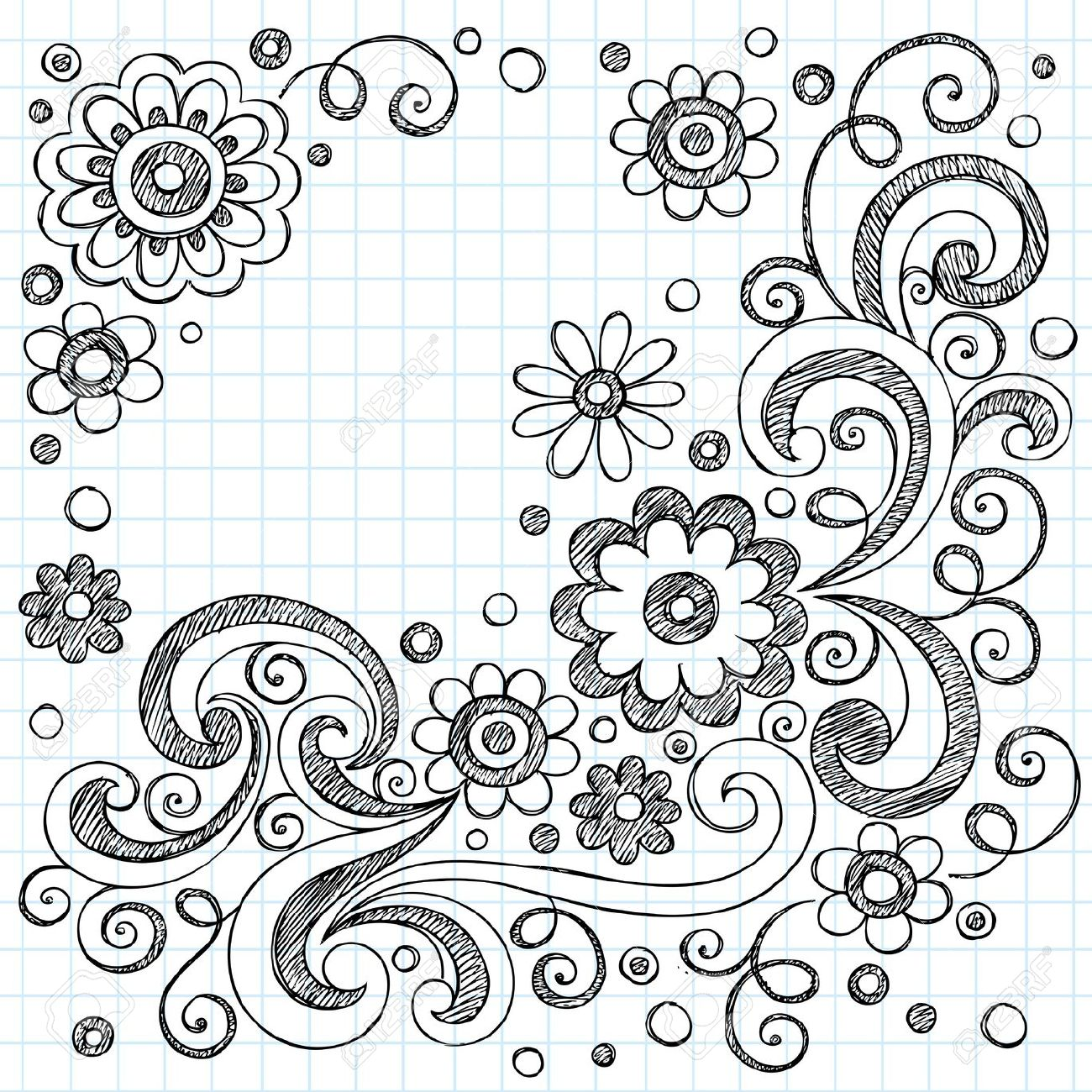 Drawing on lined paper at getdrawings free for personal use 1300x1300 hand drawn flowers back to school sketchy notebook doodles mightylinksfo