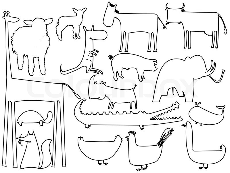 800x600 animals black outlines over white stock vector colourbox - Animal Outlines