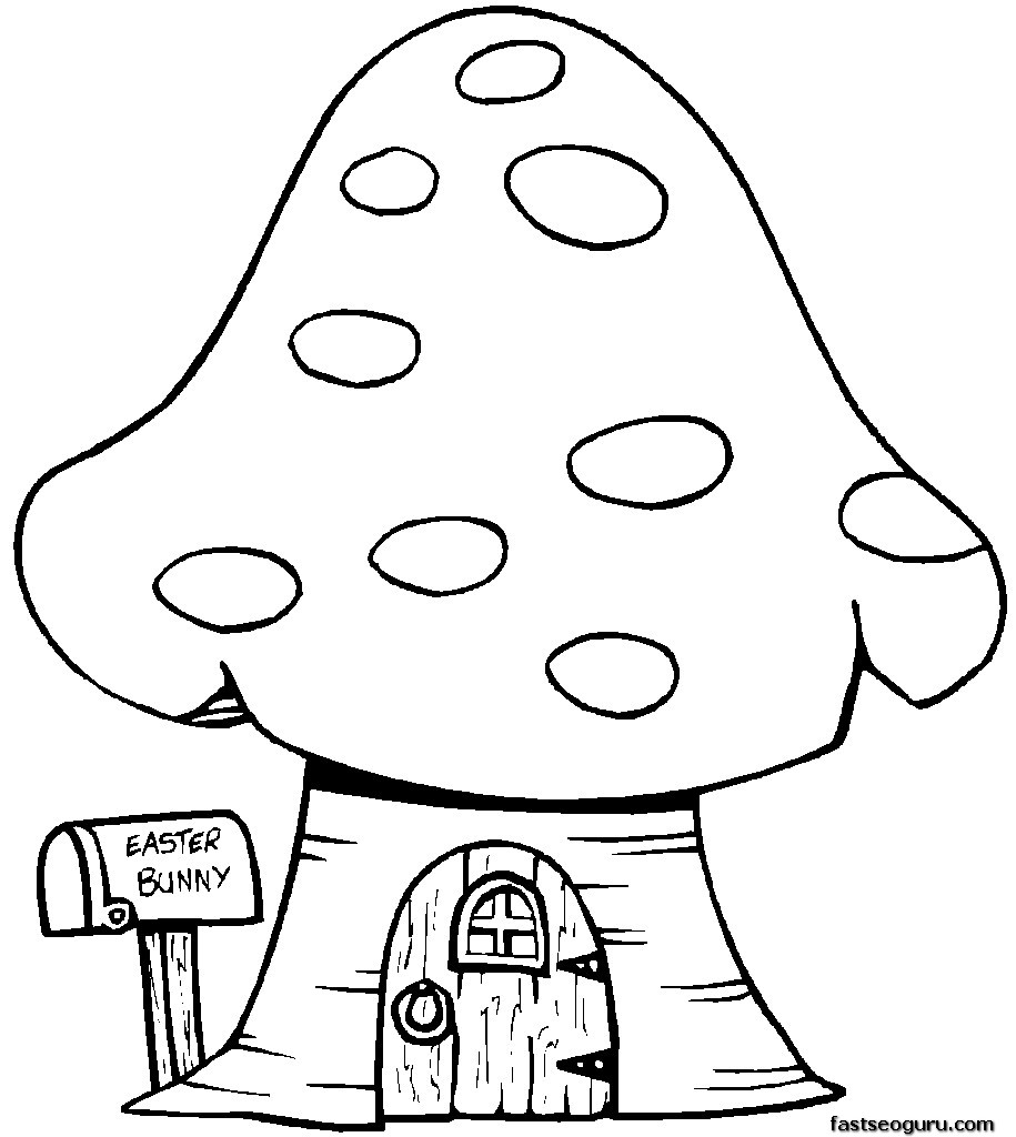 915x1024 Print Out Easter Bunny Mushrooms House Coloring Page For Kids