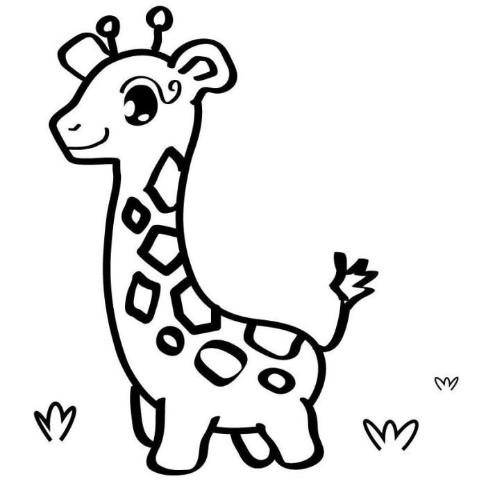 700x723 Cute Baby Giraffe Coloring Page