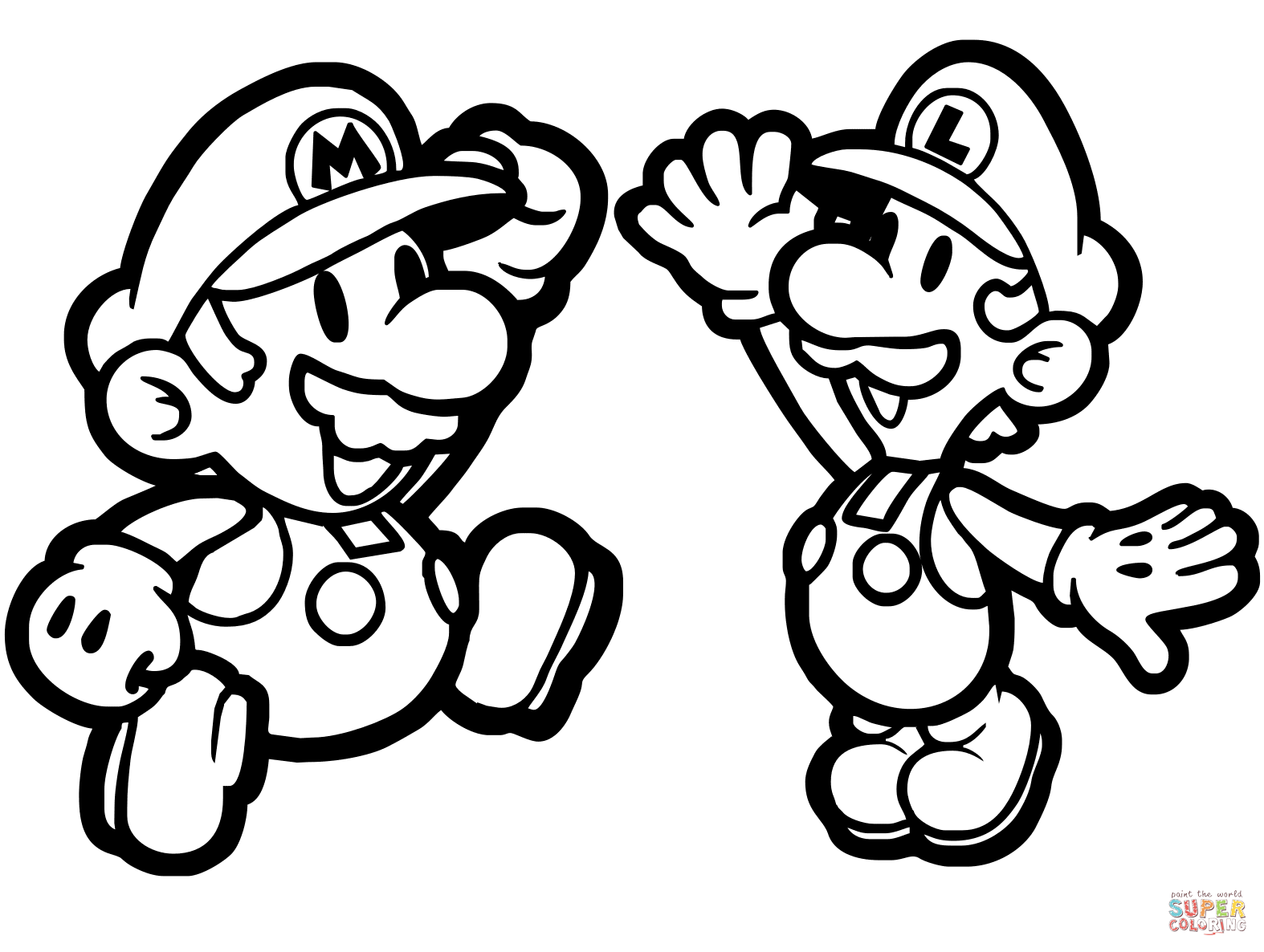 1574x1186 Paper Mario And Luigi Coloring Page Free Printable Coloring Pages