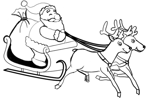 500x332 How To Draw Santa Clause And Reindeers And Flying Sleigh