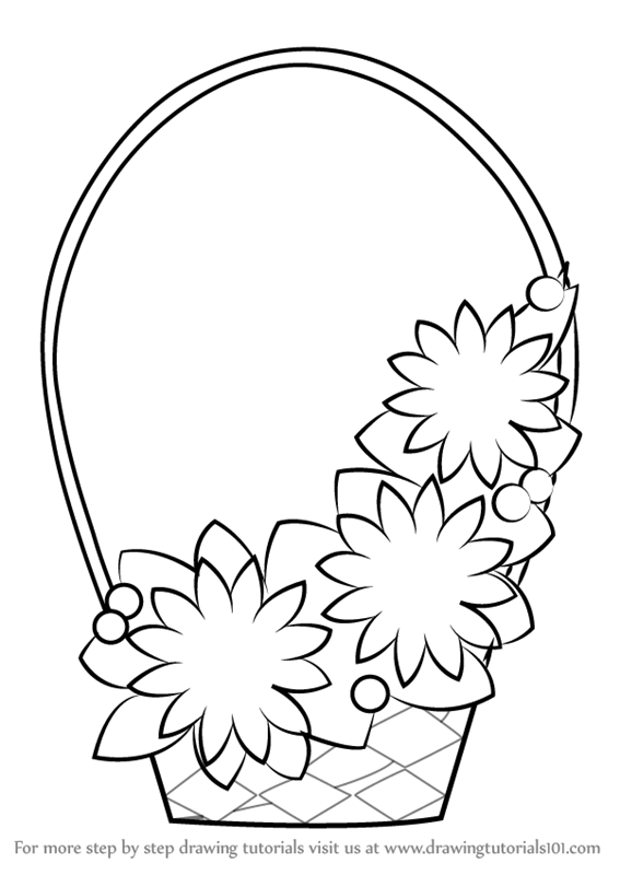 567x800 Learn How to Draw Flowers Basket for Kids (Flowers) Step by Step