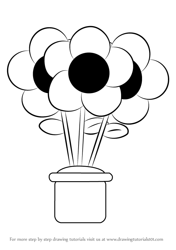 596x843 Learn How to Draw a Flower Pot (Flowers) Step by Step Drawing