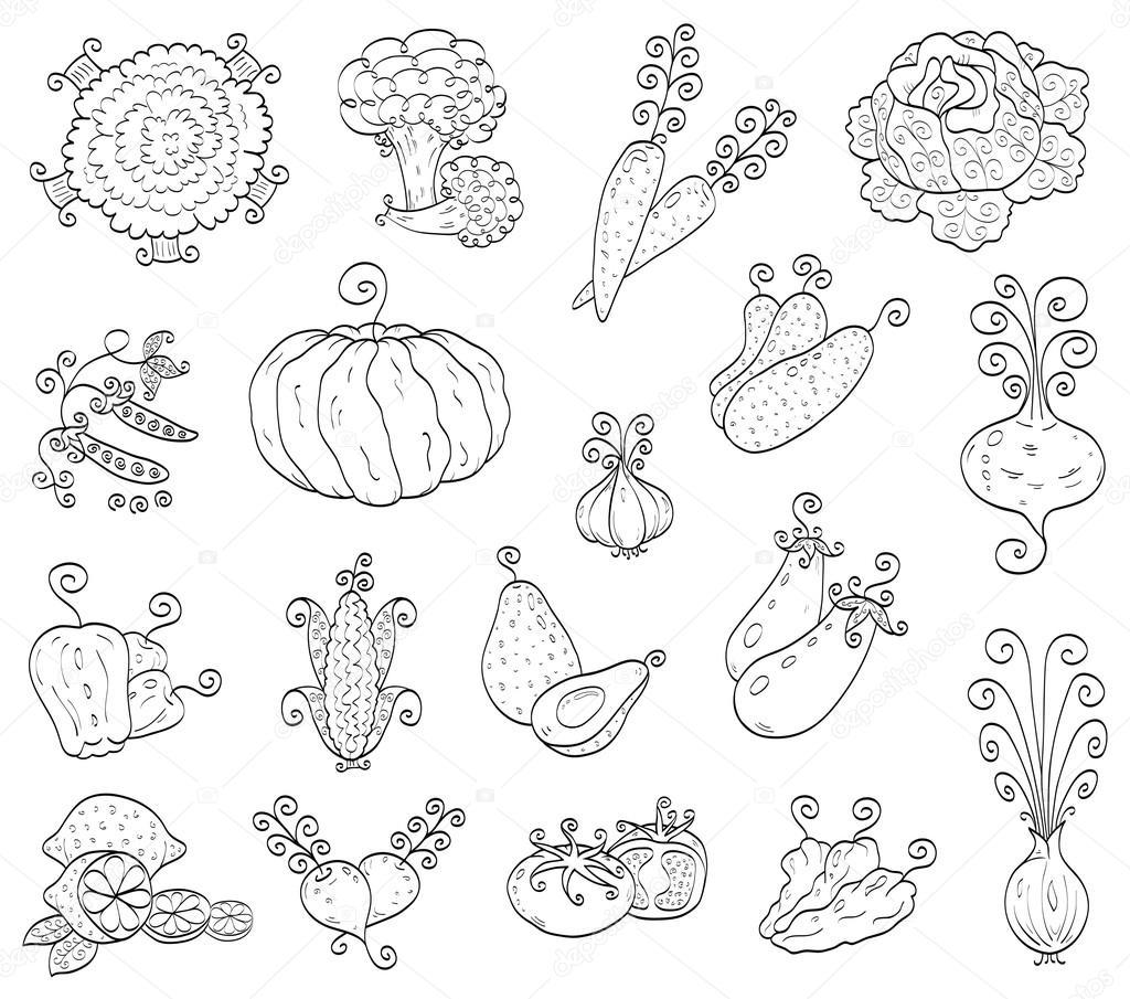 1024x905 Doodle Fruits, Vegetables Stock Vector Bastetamon
