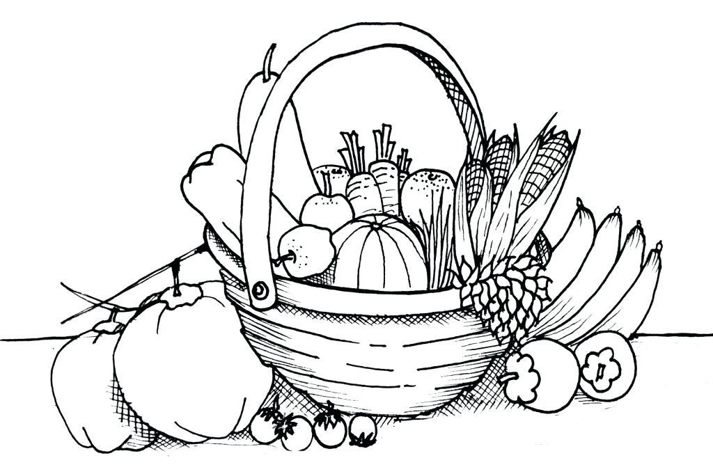 1024x681 Fruit Basket Coloring Pages Vegetables Free