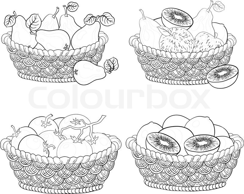 800x638 Baskets With Fruits And Vegetables, Outline Stock Vector Colourbox