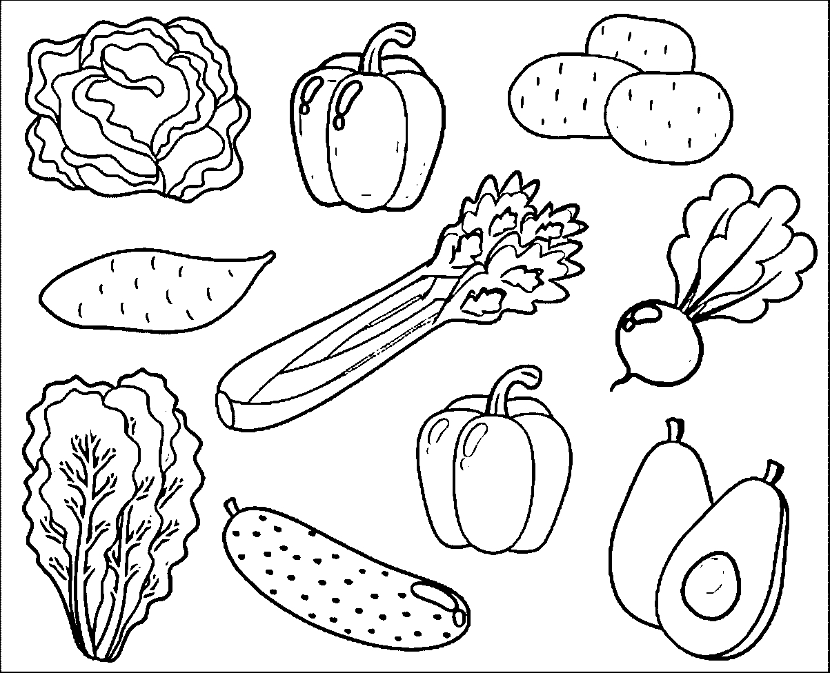 1203x976 Free Printable Mix Vegetables Coloring Sheets For Kids Printable