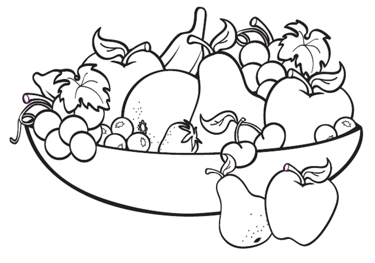 1308x918 Fruit Bowl Drawing For Kids Applique Digital Image