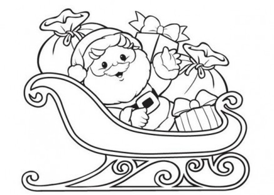 924x660 santa claus coloring pages on sleigh