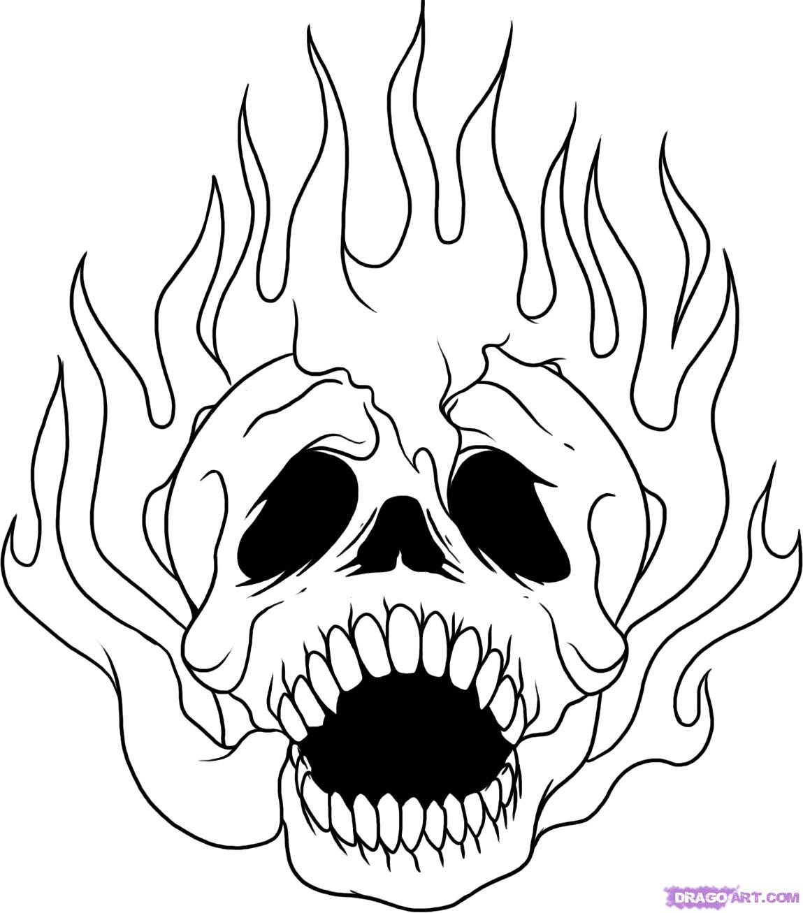 1149x1307 Skull On Fire Drawing How To Draw A Skull On Fire, Step By Step