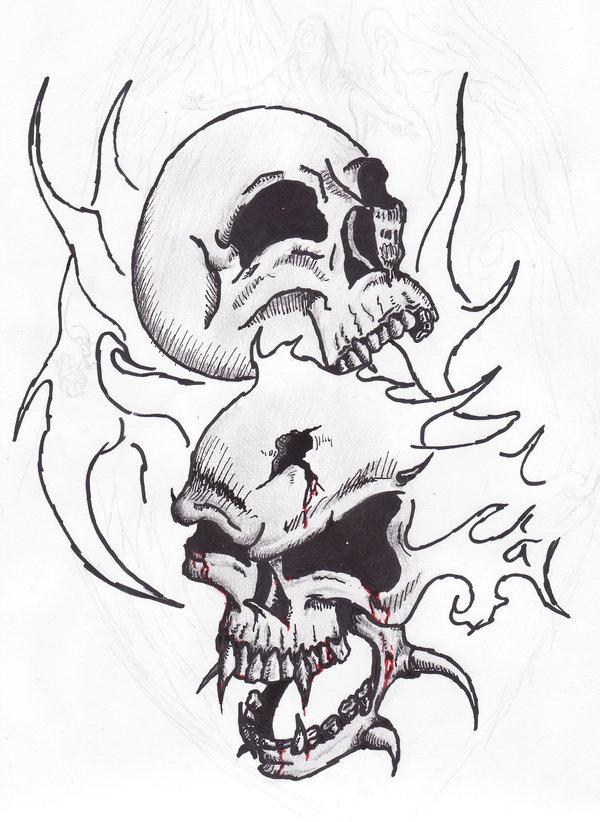 600x822 Fire Skulls Sketch Tatoo By Satroa