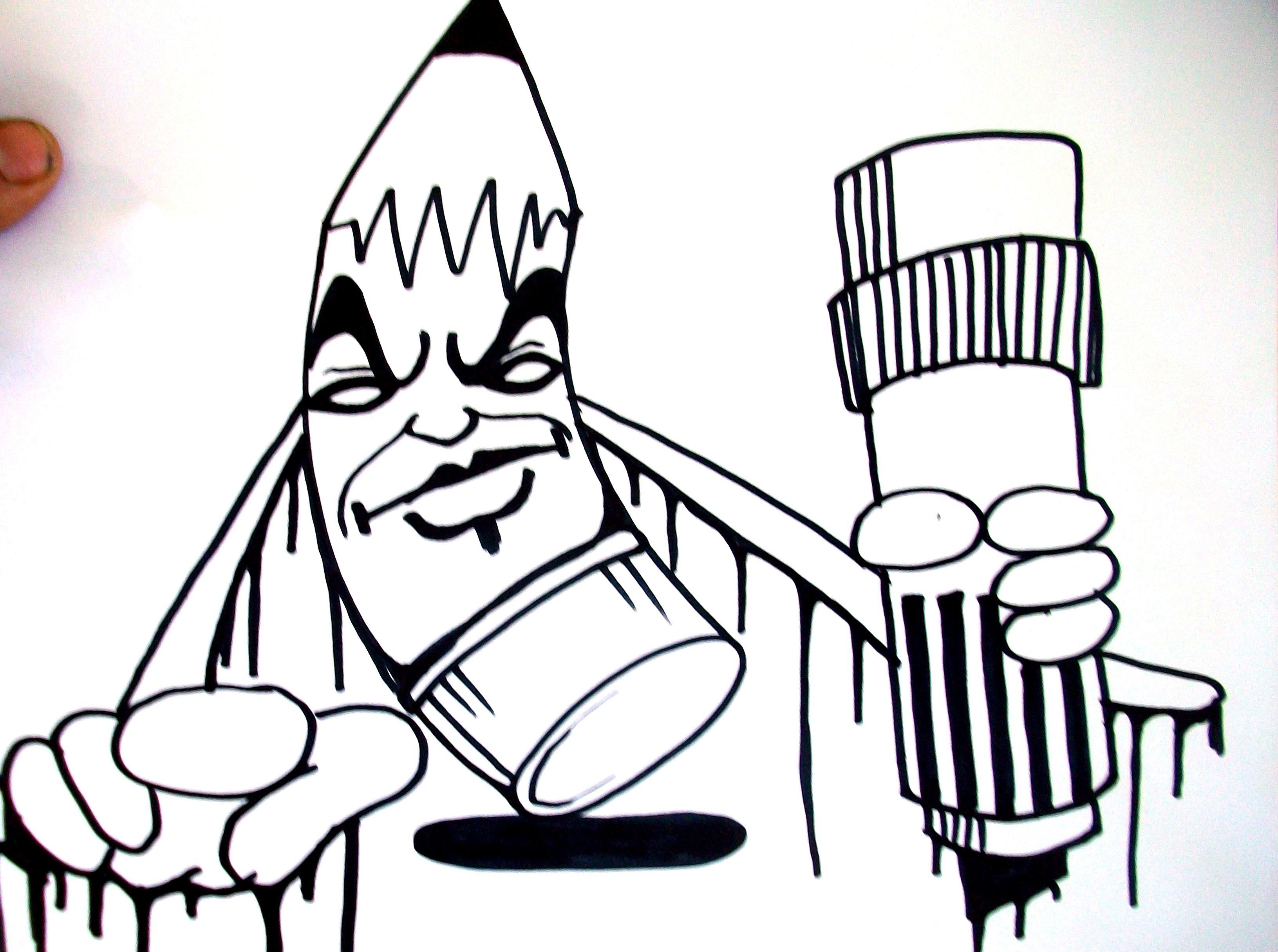 3263x2431 Drawing A Graffiti Pencil Character