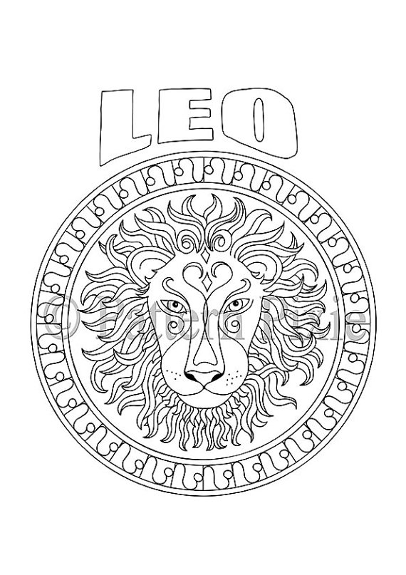 570x807 Adult Coloring Page Zodiac Leo Zodiac, Adult Coloring And Hand Drawn