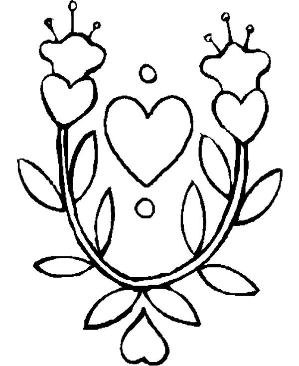 600x734 Beautiful Drawing Of Hearts And Roses Coloring Page Color Luna