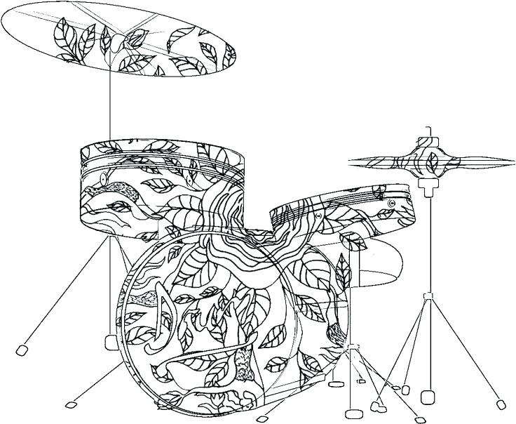 736x604 Epic Musical Instrument Coloring Pages Free Download