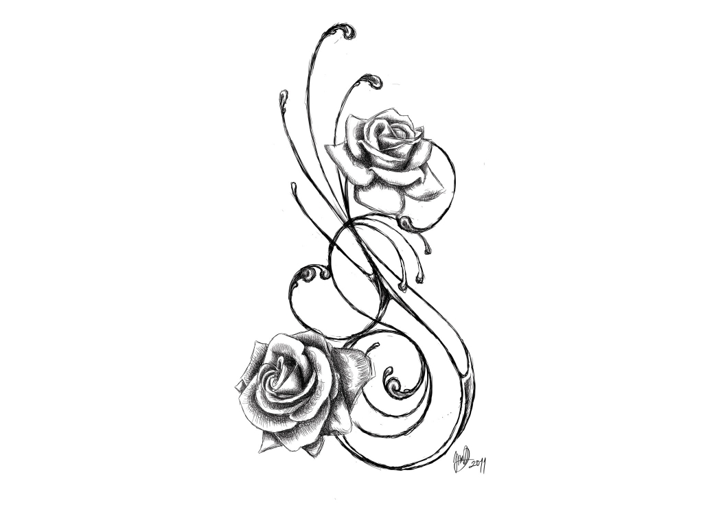 1024x768 Flower With Music Notes Tattoo 1000 Images About Sketchy
