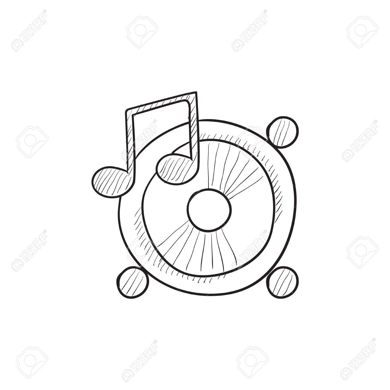 1300x1300 Loudspeakers With Music Note Vector Sketch Icon Isolated