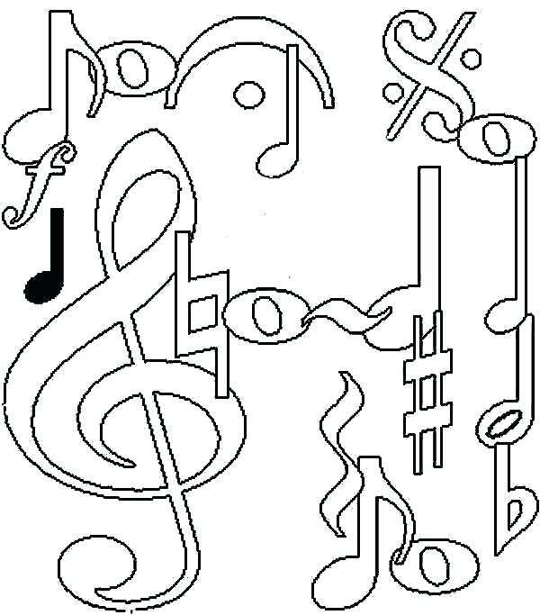 600x683 Music Notes Coloring Music Notes Drawing Coloring Page Music Notes