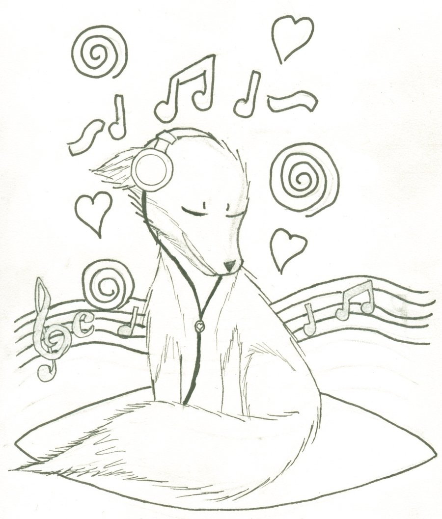 900x1057 Music Fox Coloring Page By Fancyninjacat