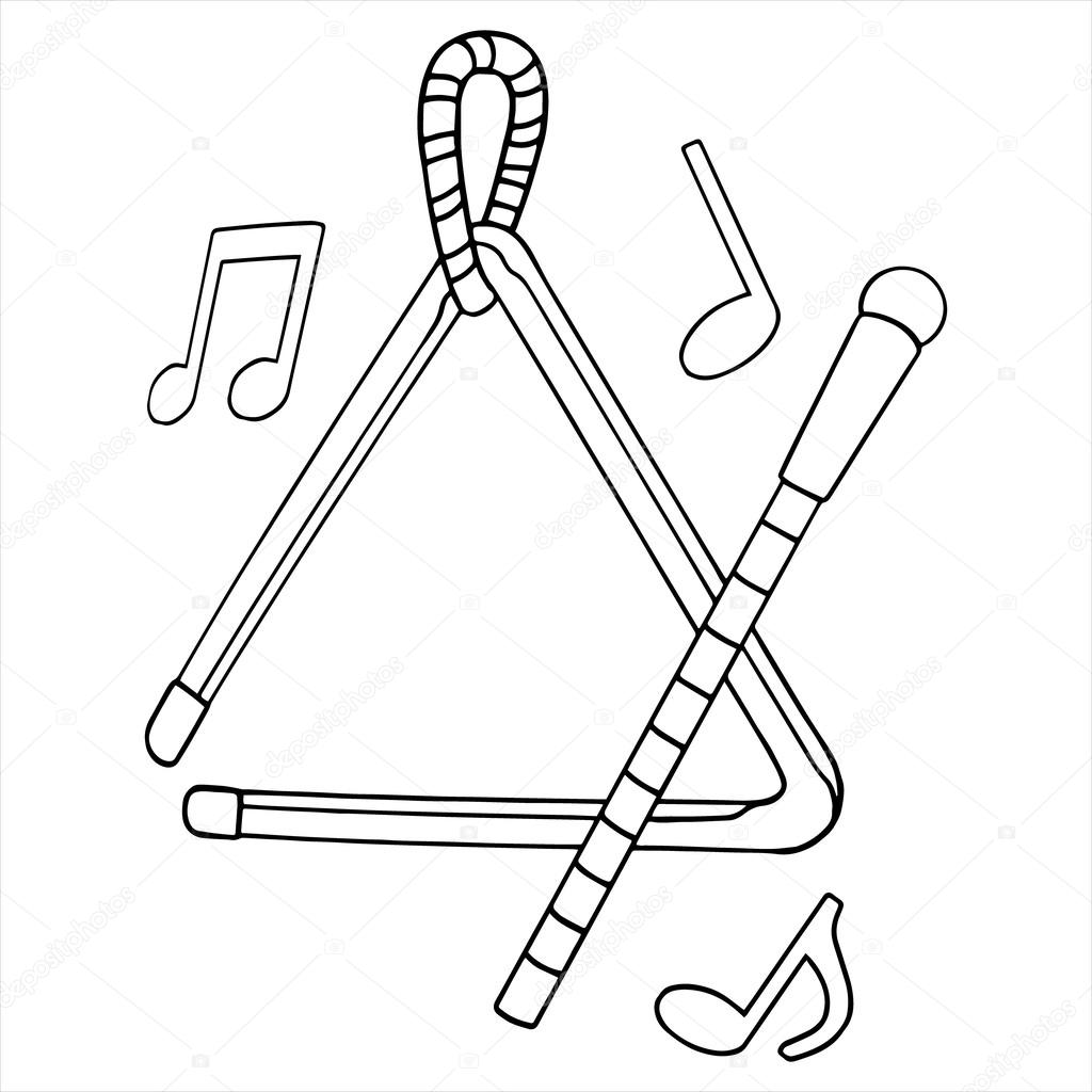 1024x1024 Triangle With Music Notes Stock Vector Foxynguyen