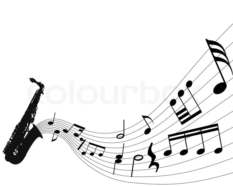 800x640 Abstract Music Background With Different Notes And Wind Instrument