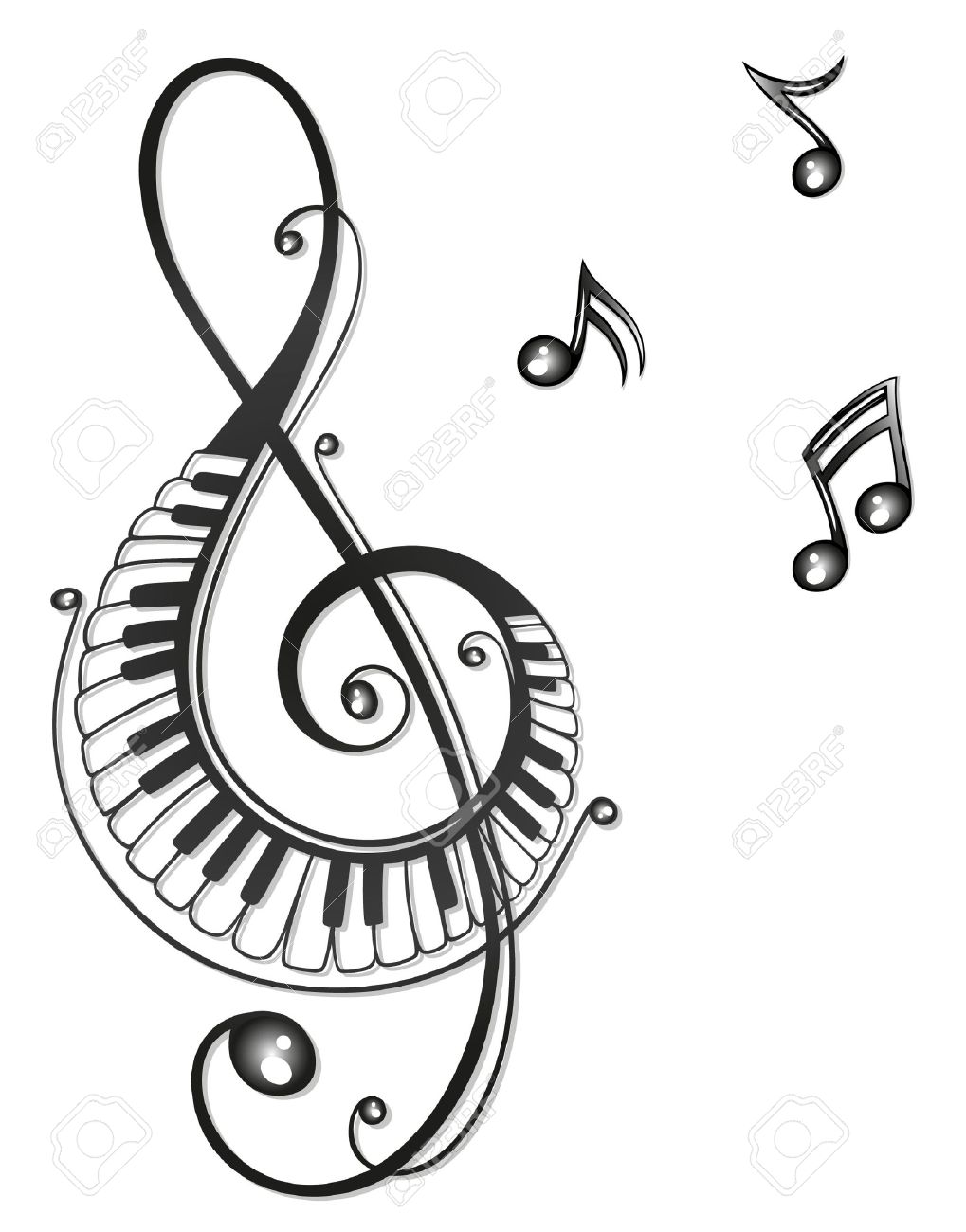 1019x1300 Clef With Music Notes, Black Tribal Royalty Free Cliparts, Vectors