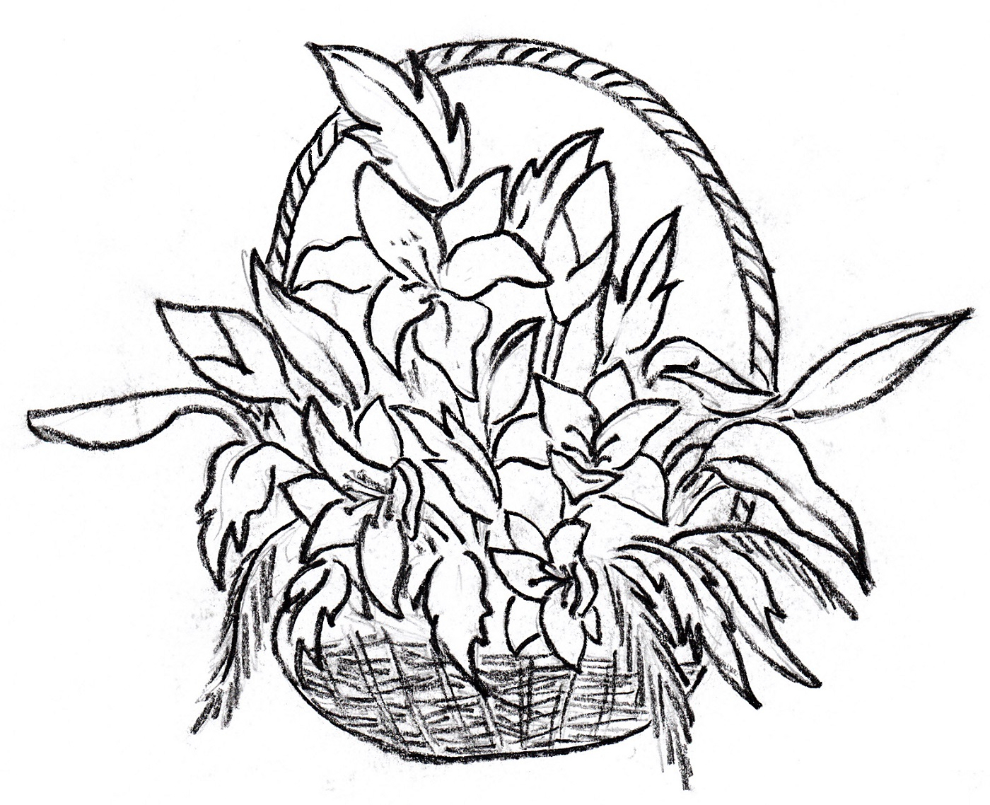 1400x1138 Colourful Flowers In Basket Drawings How To Draw A Flower Vase