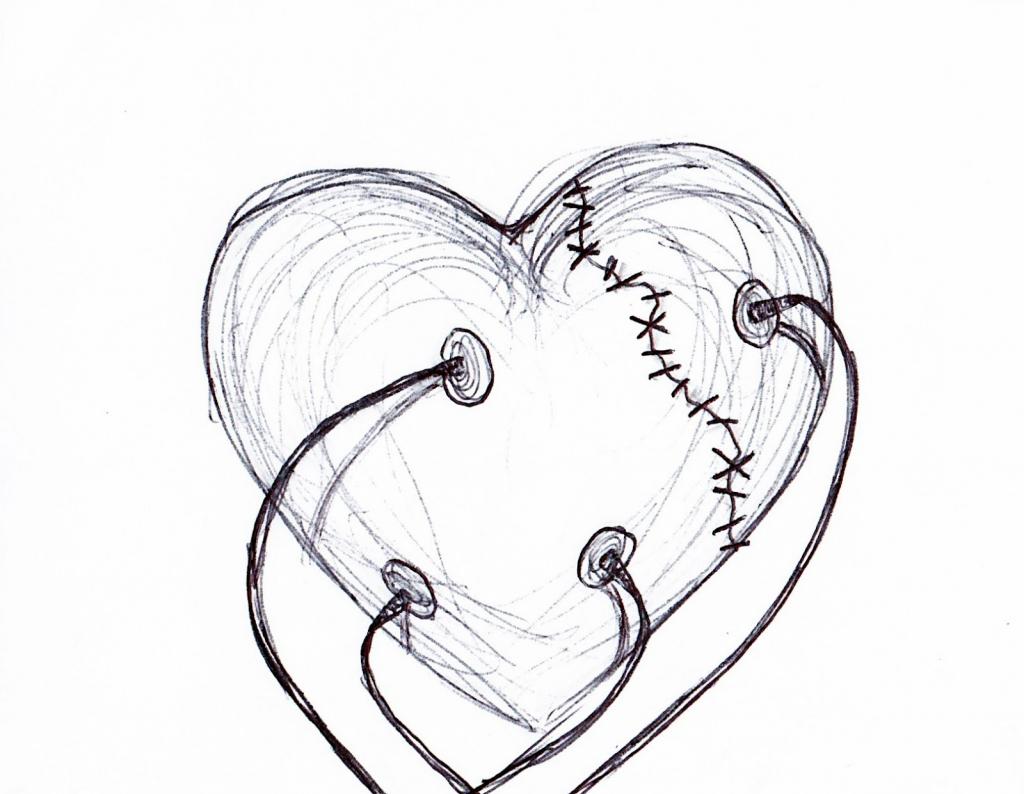 1024x794 Heart Shape Pencil Sketch Photo Pencil Sketch Of Heart Pencil