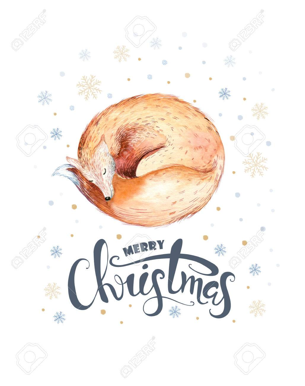 1029x1300 Merry Christmas Watercolor Lettering With Watercolour Fun Fox