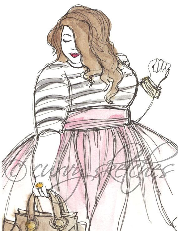 570x738 Pink Tulle, Plus Size Fashion Illustration,rt Print