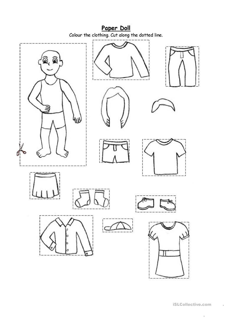 763x1079 Esl Worksheets Kindergarten Free Paper Doll Clothing For And 1st