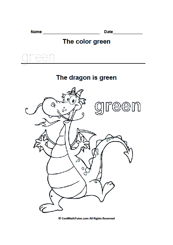 595x842 Color Green Worksheets For Kindergarten