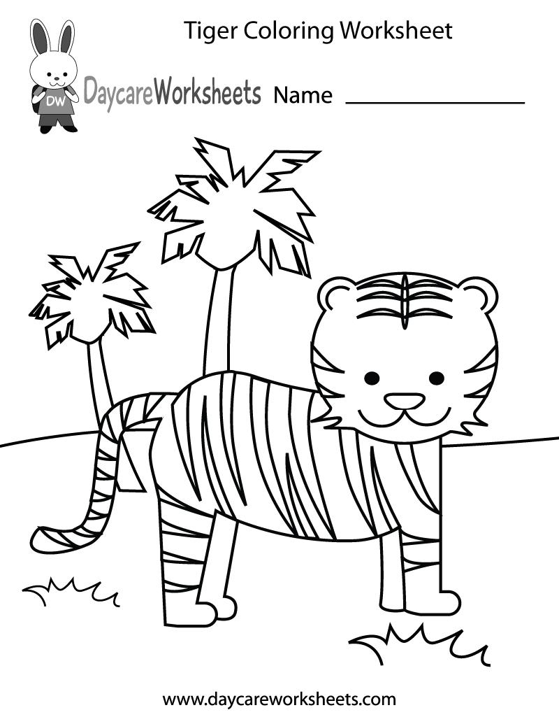 800x1035 Free Preschool Tiger Coloring Worksheet