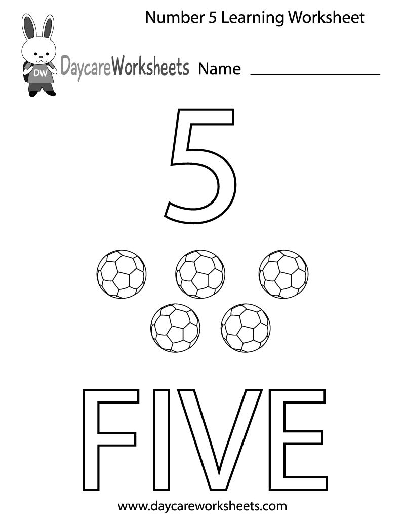 800x1035 Free Preschool Number Five Learning Worksheet