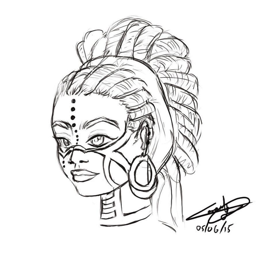 966x966 African Dreads Girl Sketch By Weird Enough Ya