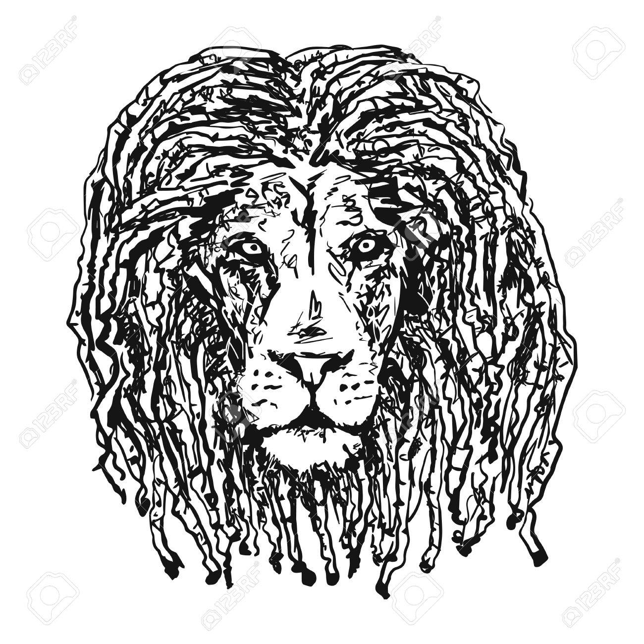 1300x1300 Isolated Vectorhead Lion With Dreadlocks As A Symbol