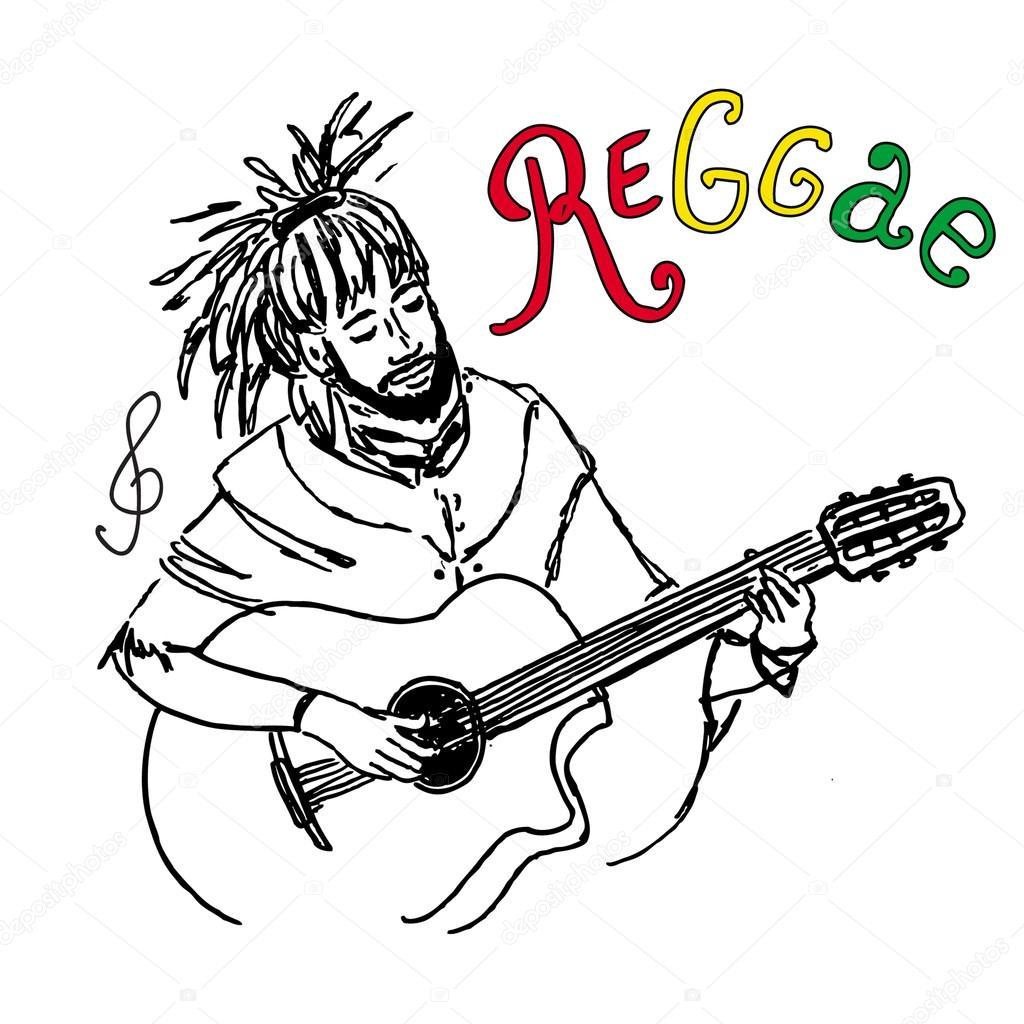 1024x1024 Vector Illustration Of Rastaman Playing Guitar. Cute Rastafarian