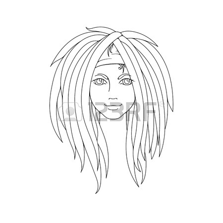 450x450 Young Girl With Dreadlocks. Freak Hairstyle. Picture For Coloring