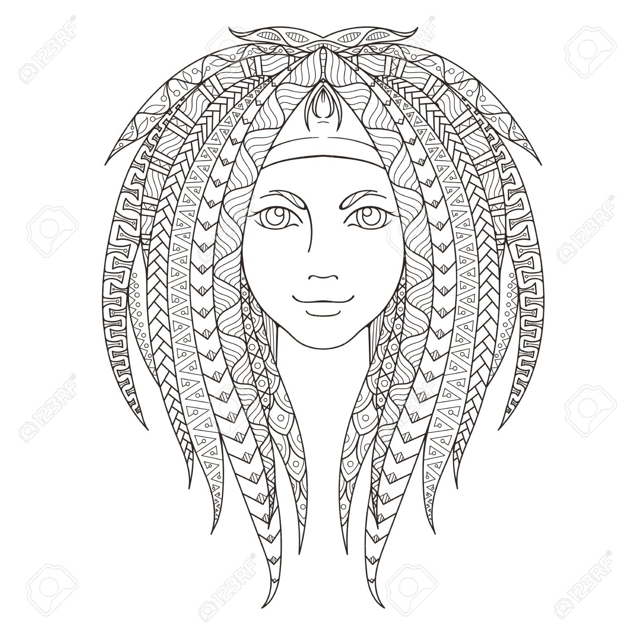 1300x1300 Young Girl With Patterned Dreadlocks. Page For Coloring. Ornate