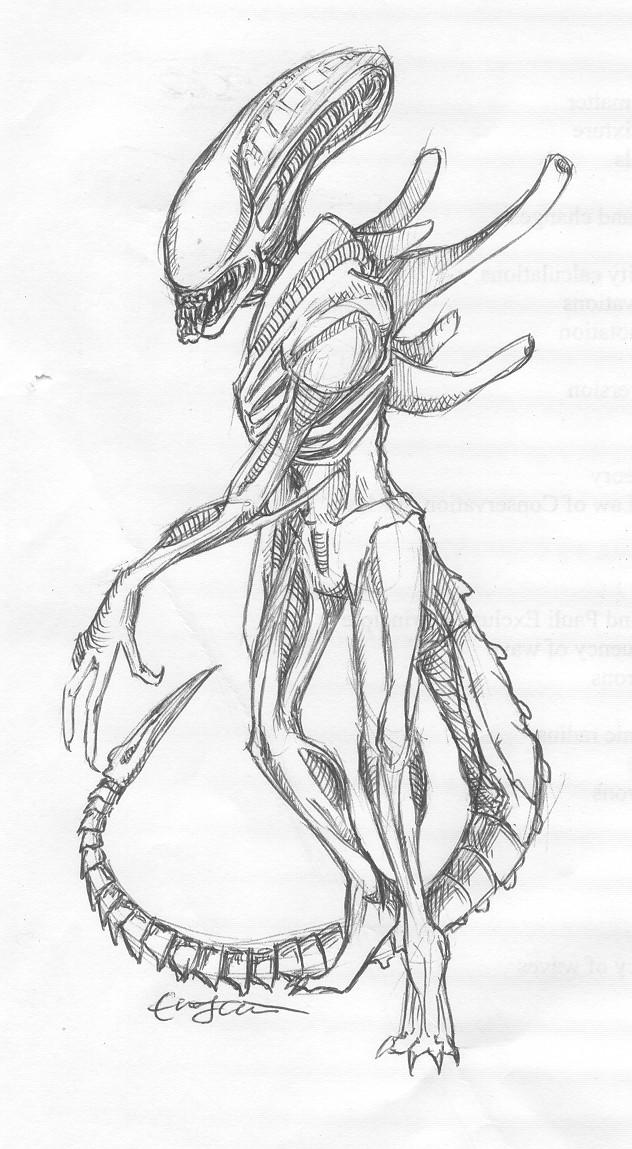 632x1149 Alien Pen Drawing By Underbase