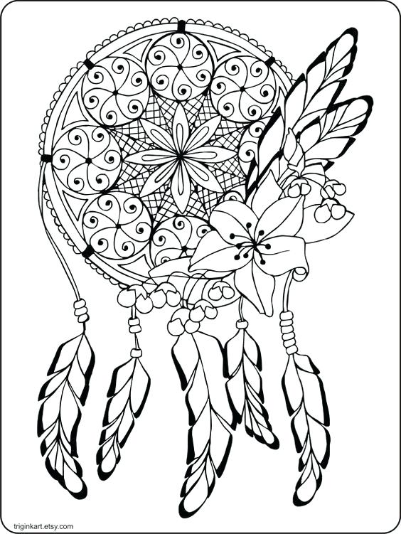 564x751 Dream Catcher Coloring Pages Dream Catcher Adult Coloring Page