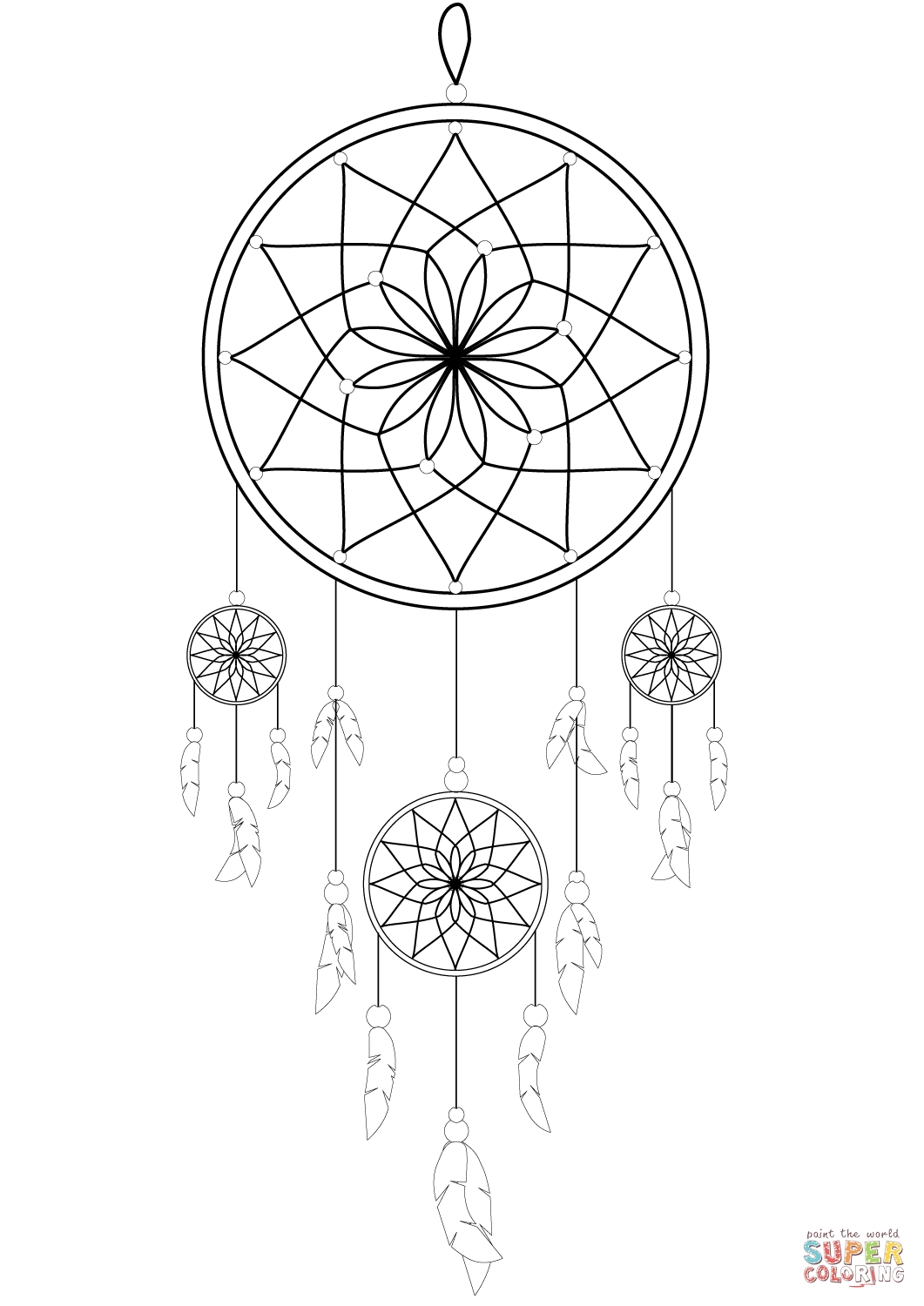 black and white dream catchers coloring pages | Dream Catcher Drawing Easy at GetDrawings.com | Free for ...