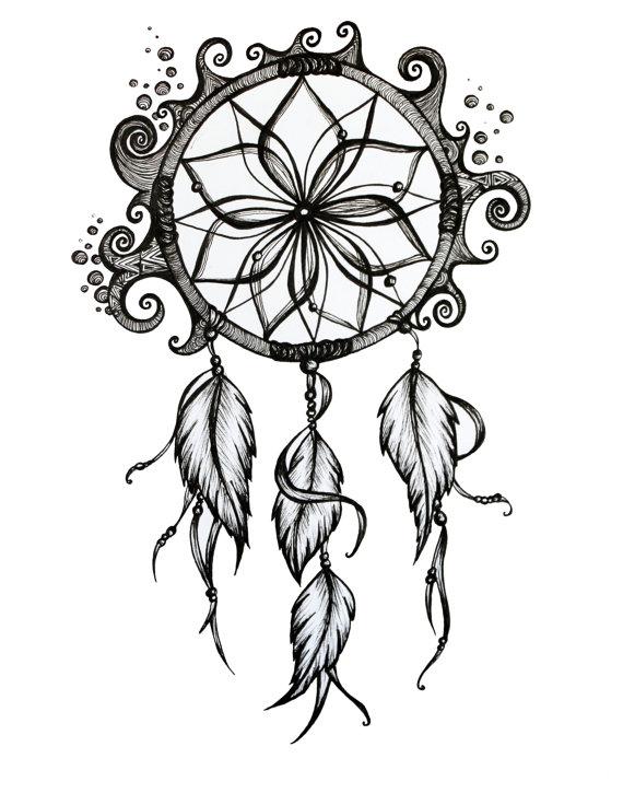570x725 Henna Dream Catcher Drawings