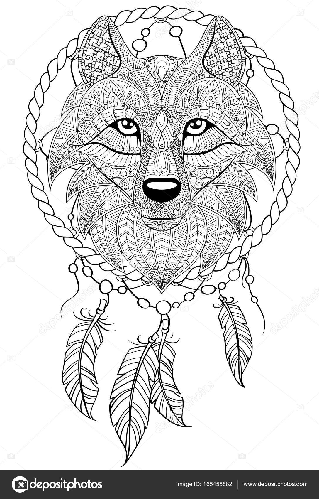 1088x1700 Dream Catcher With Wolf. Tattoo Or Adult Antistress Coloring Page