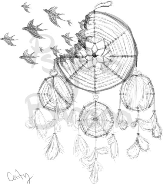 538x608 Dreamcatcher Tattoo Design By A Psycho Banana